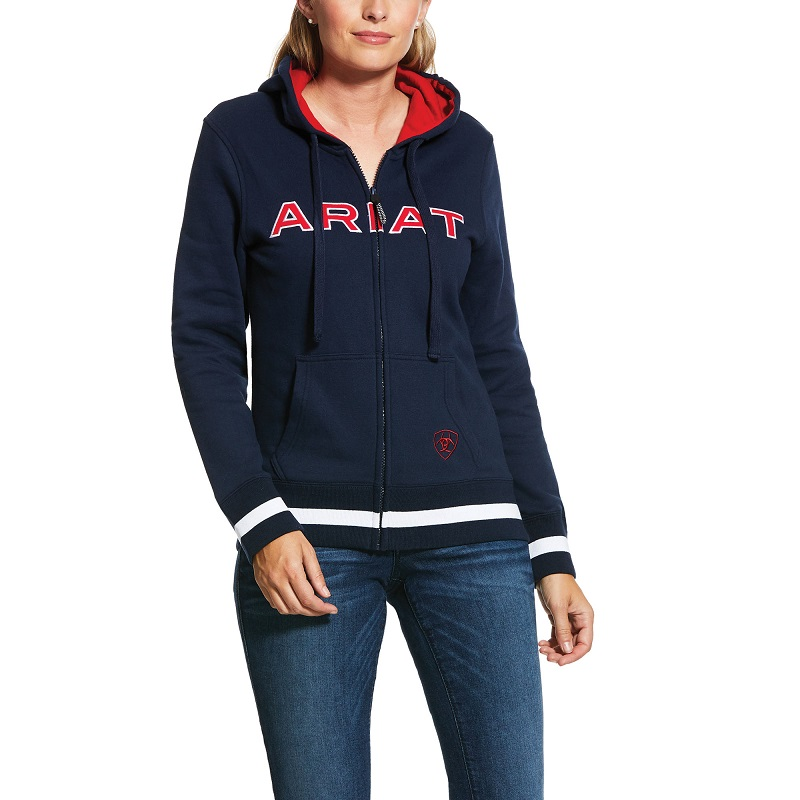 ARIAT WOMENS LOGO FULL ZIP HOODIE