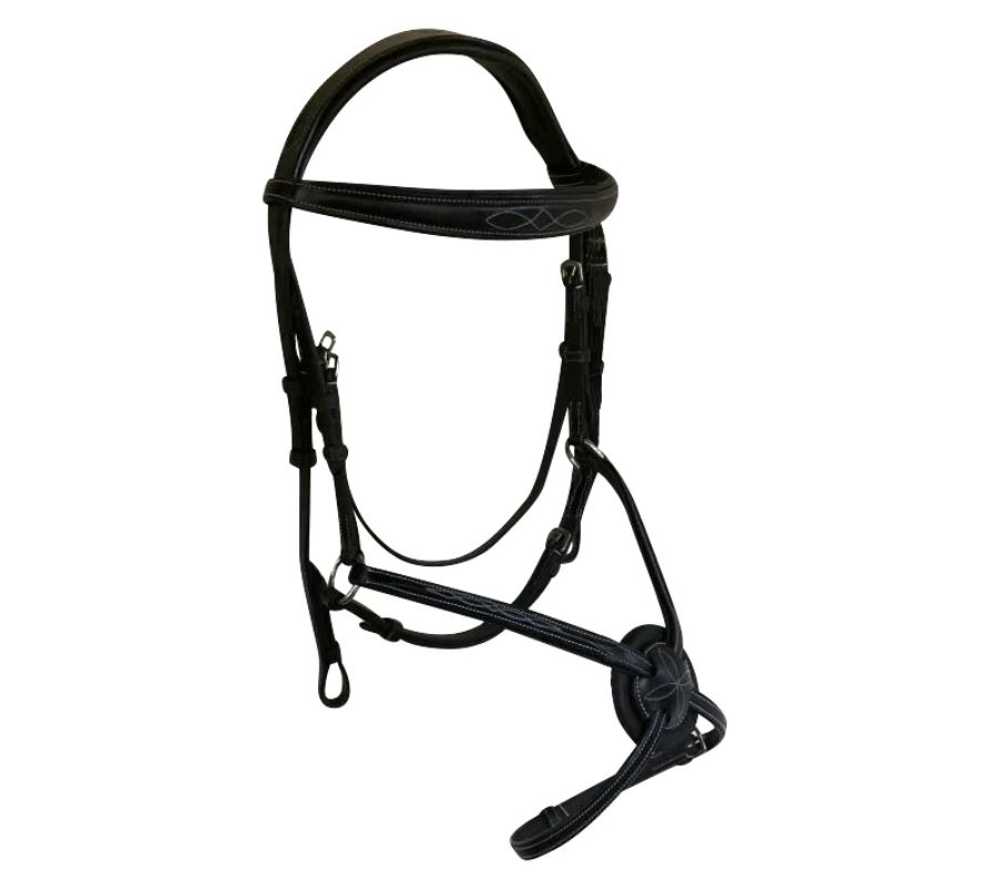 Lumiere Ava No Sheepskin Grackle Bridle with Rubber Grip Reins Black