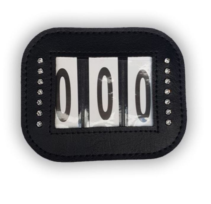 PU Leather Three Number Holders with Velcro and Pin