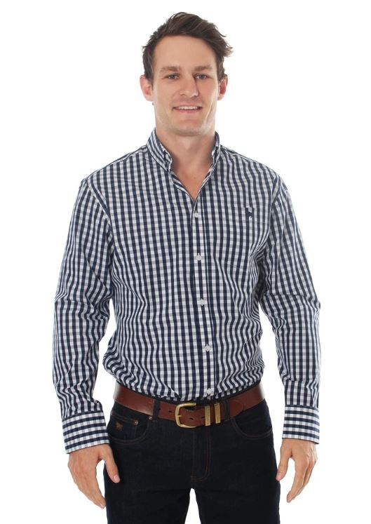 Ringers Mens Flinders Gingham Checked Dress Shirt