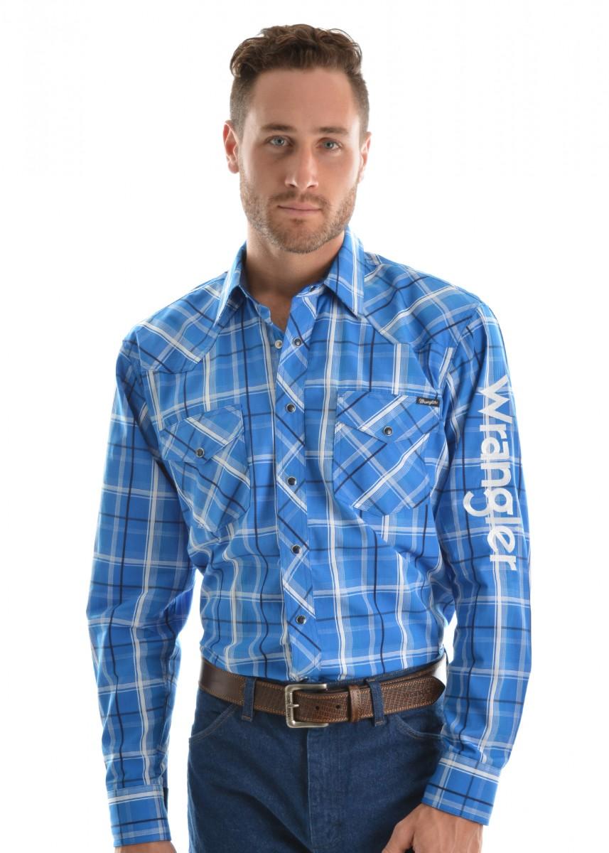 Wrangler Mens Logo Zenon Check Long Sleeve Shirt