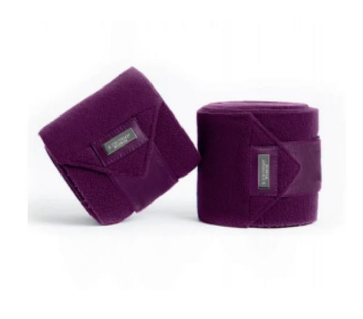 Equestrian Stockholm Fleece Bandages Purple White