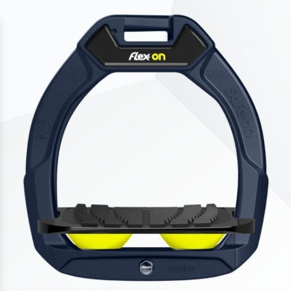 Flex On Safe On Junior Inclined Grip Stirrups Navy/Black/Yellow