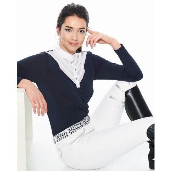Harcour Dancing Long Sleeve Competition Polo Navy