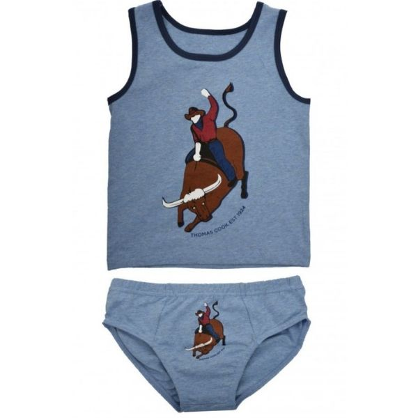Pure Western Boys Bull Rider Singlet and Underwear Pack Light Blue Marle