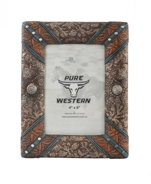 Pure Western Leather Look Picture Frame