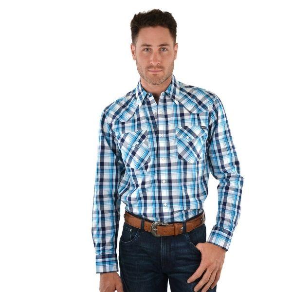 Pure Western Mens Elliot Check Long Sleeve Shirt