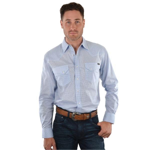 Pure Western Mens Jacobson Print Long Sleeve Shirt