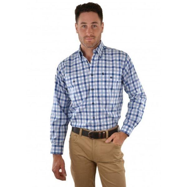 Thomas Cook Mens Marsden 2 Pocket Long Sleeve Shirt Royal Blue