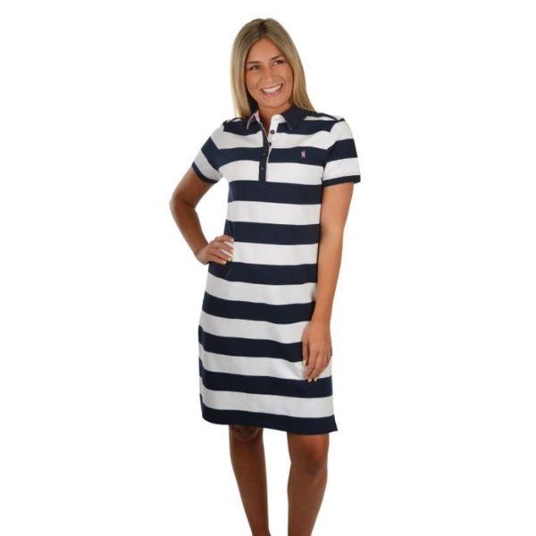 Thomas Cook Womens Beth Stripe Short Sleeve Rugby Dress Dark Navy/White