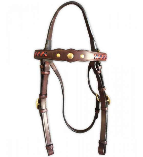 Toprail Leather Show Bridle 3 Studs with Red Blue Plait Detail