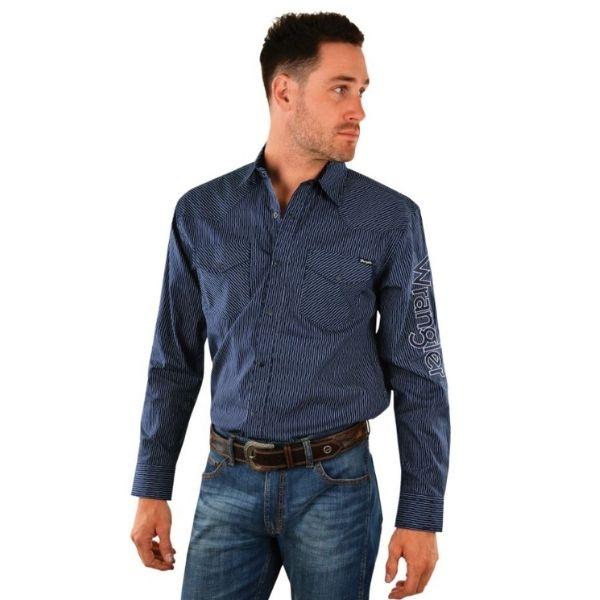 Wrangler Mens Fitzpatrick Stripe Logo Long Sleeve Shirt